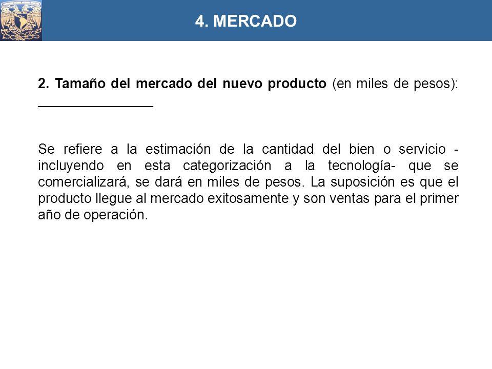 2. Tamaño del mercado del nuevo producto (en miles de pesos): _______________ Se refiere a la estimación de la cantidad del bien o servicio - incluyen