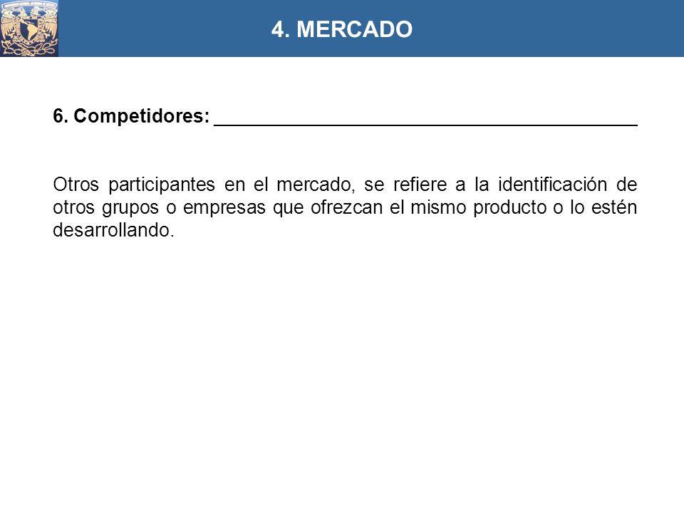 6. Competidores: ________________________________________ Otros participantes en el mercado, se refiere a la identificación de otros grupos o empresas