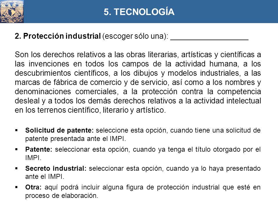 2. Protección industrial (escoger sólo una): __________________ Son los derechos relativos a las obras literarias, artísticas y científicas a las inve