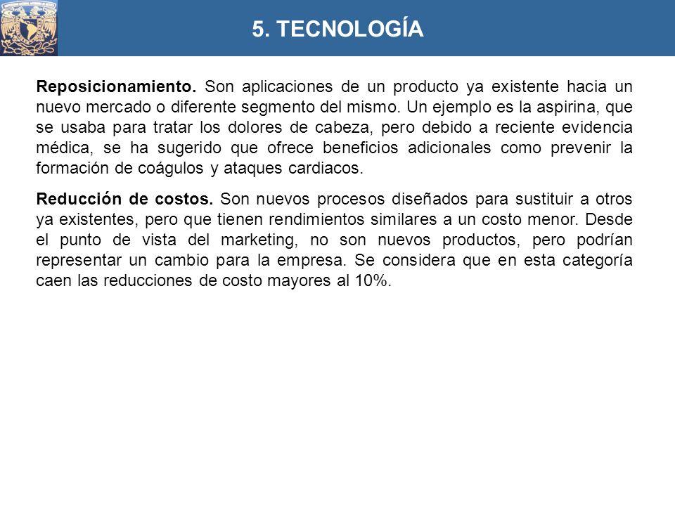 Reposicionamiento. Son aplicaciones de un producto ya existente hacia un nuevo mercado o diferente segmento del mismo. Un ejemplo es la aspirina, que
