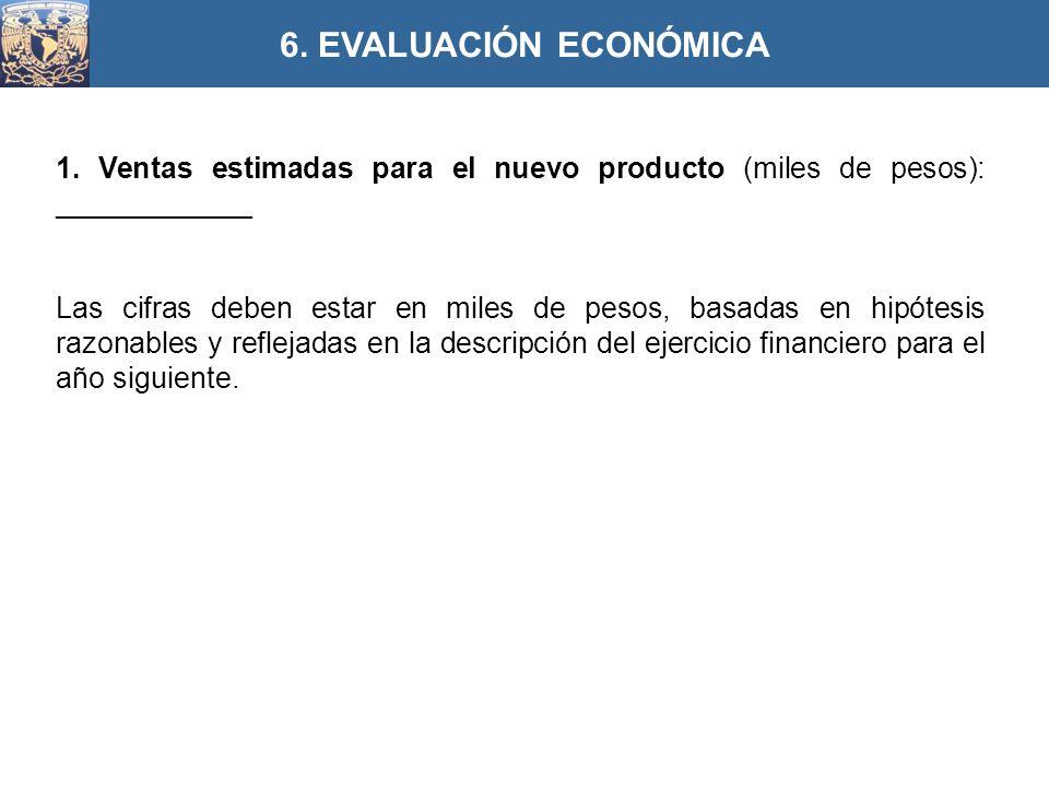 1. Ventas estimadas para el nuevo producto (miles de pesos): ____________ Las cifras deben estar en miles de pesos, basadas en hipótesis razonables y