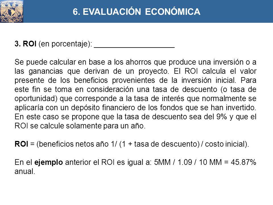 3. ROI (en porcentaje): ___________________ Se puede calcular en base a los ahorros que produce una inversión o a las ganancias que derivan de un proy
