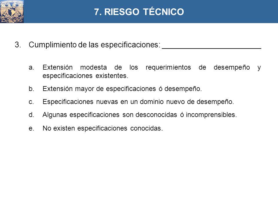 3.Cumplimiento de las especificaciones: _______________________ a.Extensión modesta de los requerimientos de desempeño y especificaciones existentes.