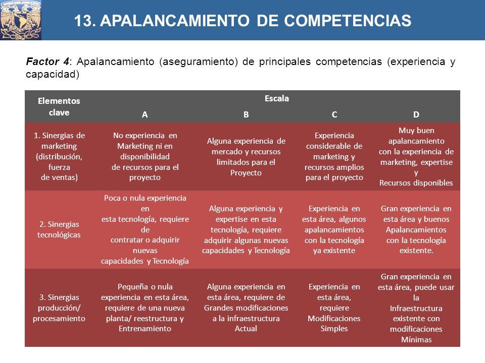 Factor 4: Apalancamiento (aseguramiento) de principales competencias (experiencia y capacidad) 13. APALANCAMIENTO DE COMPETENCIAS Elementos clave Esca