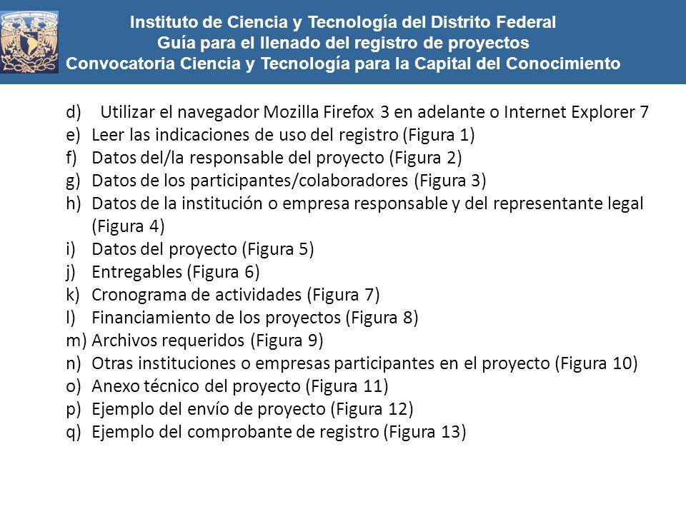 Instituto de Ciencia y Tecnología del Distrito Federal Guía para el llenado del registro de proyectos Convocatoria Ciencia y Tecnología para la Capita