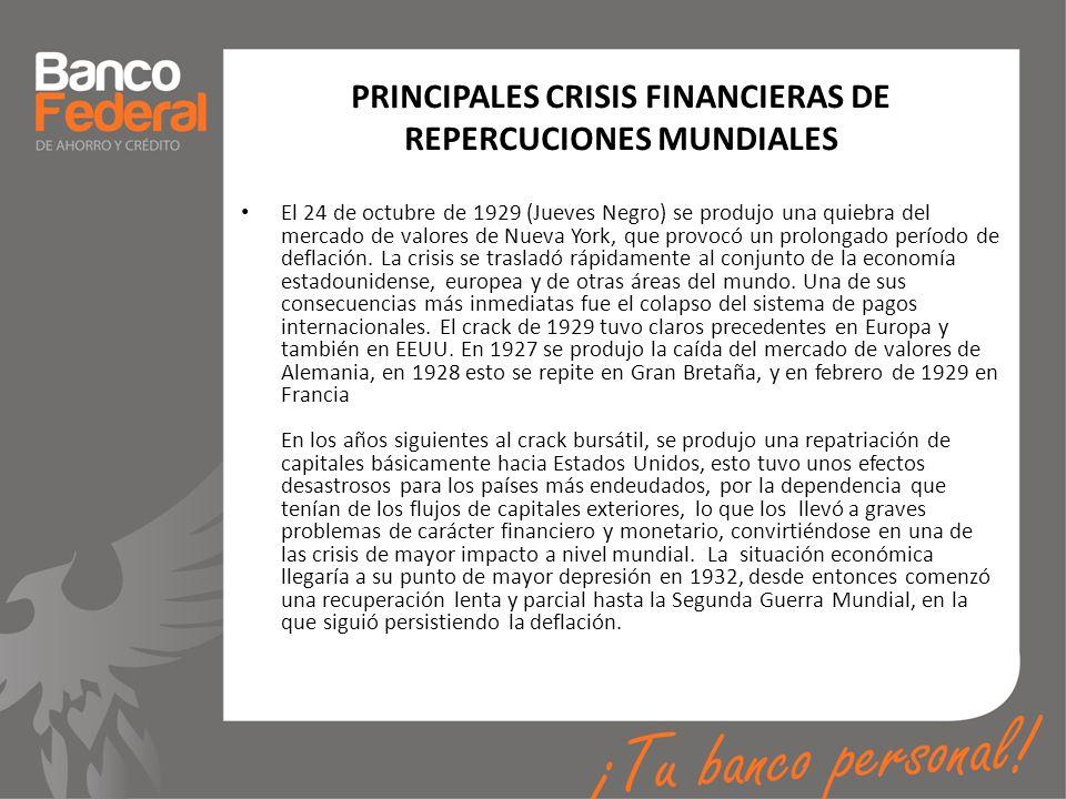 PRINCIPALES CRISIS FINANCIERAS DE REPERCUCIONES MUNDIALES El 24 de octubre de 1929 (Jueves Negro) se produjo una quiebra del mercado de valores de Nue
