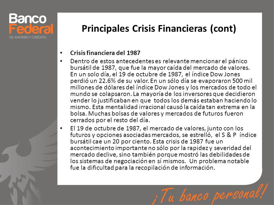 Principales Crisis Financieras (cont) Crisis financiera del 1987 Dentro de estos antecedentes es relevante mencionar el pánico bursátil de 1987, que f