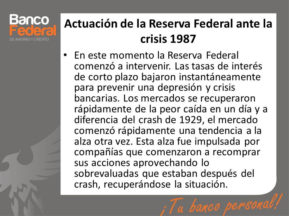 Actuación de la Reserva Federal ante la crisis 1987 En este momento la Reserva Federal comenzó a intervenir. Las tasas de interés de corto plazo bajar