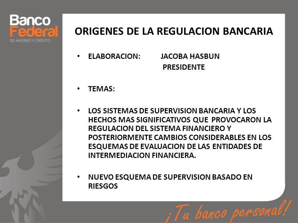 ORIGENES DE LA REGULACION BANCARIA ELABORACION: JACOBA HASBUN PRESIDENTE TEMAS: LOS SISTEMAS DE SUPERVISION BANCARIA Y LOS HECHOS MAS SIGNIFICATIVOS Q
