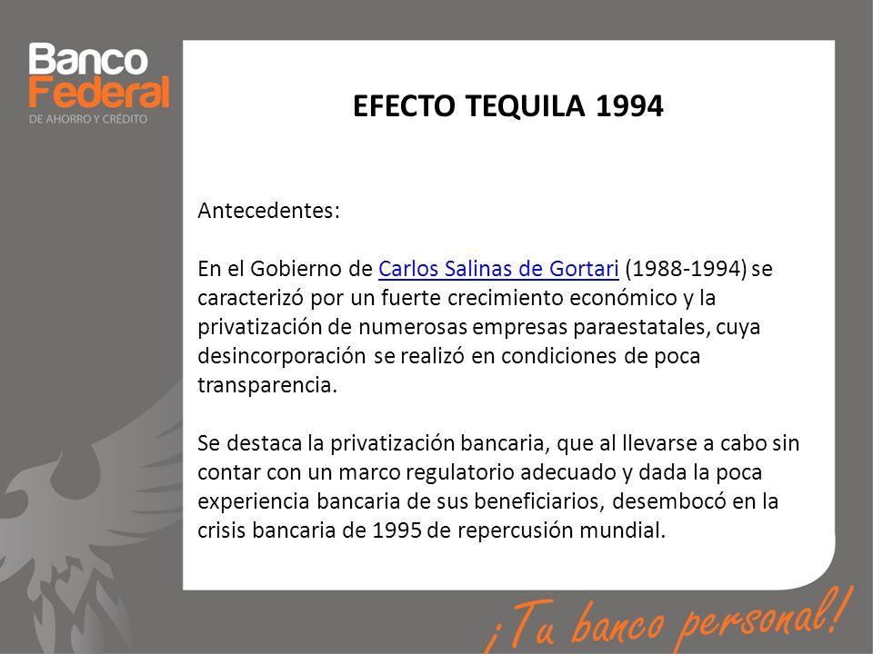 EFECTO TEQUILA 1994 Antecedentes: En el Gobierno de Carlos Salinas de Gortari (1988-1994) se caracterizó por un fuerte crecimiento económico y la priv