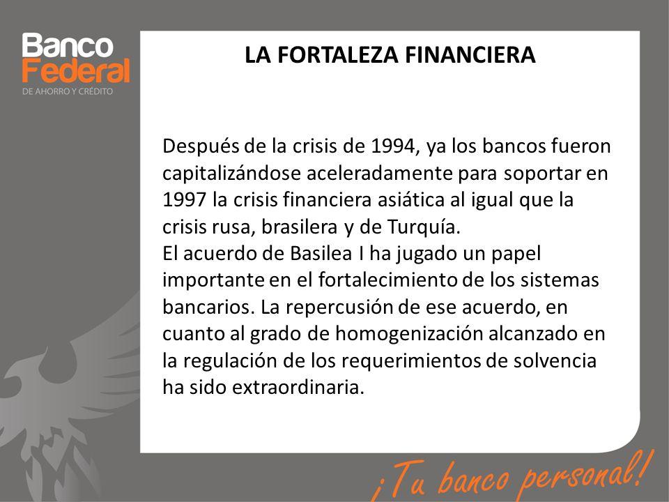 LA FORTALEZA FINANCIERA Después de la crisis de 1994, ya los bancos fueron capitalizándose aceleradamente para soportar en 1997 la crisis financiera a