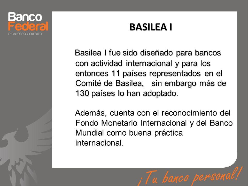 BASILEA I Basilea I fue sido diseñado para bancos con actividad internacional y para los entonces 11 países representados en el Comité de Basilea, sin