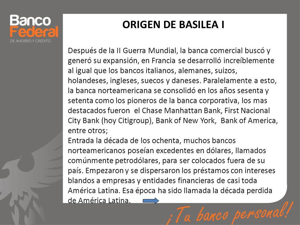ORIGEN DE BASILEA I Después de la II Guerra Mundial, la banca comercial buscó y generó su expansión, en Francia se desarrolló increíblemente al igual