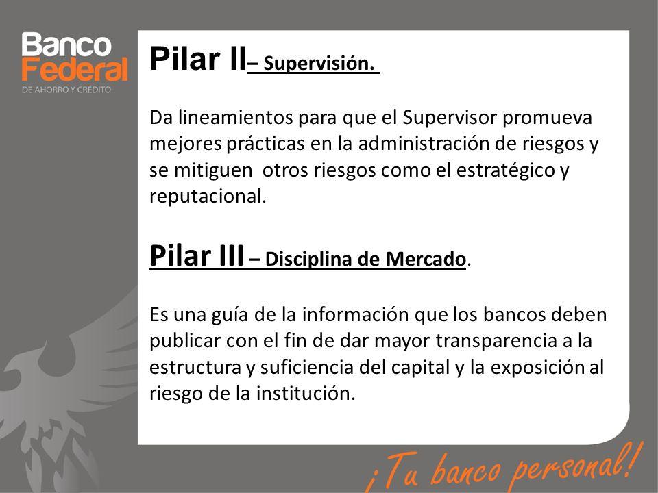 Pilar II – Supervisión. Da lineamientos para que el Supervisor promueva mejores prácticas en la administración de riesgos y se mitiguen otros riesgos