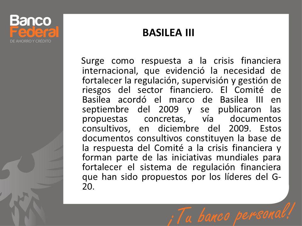 BASILEA III Surge como respuesta a la crisis financiera internacional, que evidenció la necesidad de fortalecer la regulación, supervisión y gestión d