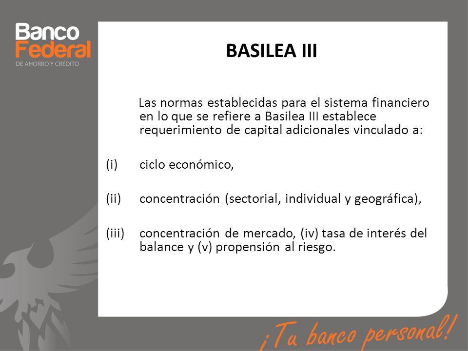 BASILEA III Las normas establecidas para el sistema financiero en lo que se refiere a Basilea III establece requerimiento de capital adicionales vincu