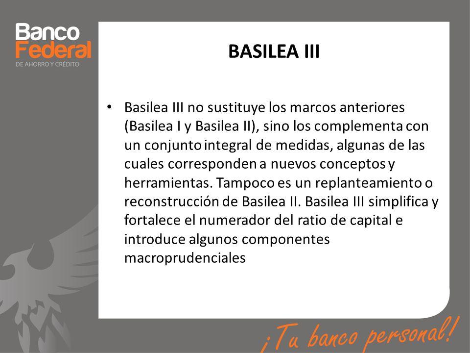 BASILEA III Basilea III no sustituye los marcos anteriores (Basilea I y Basilea II), sino los complementa con un conjunto integral de medidas, algunas