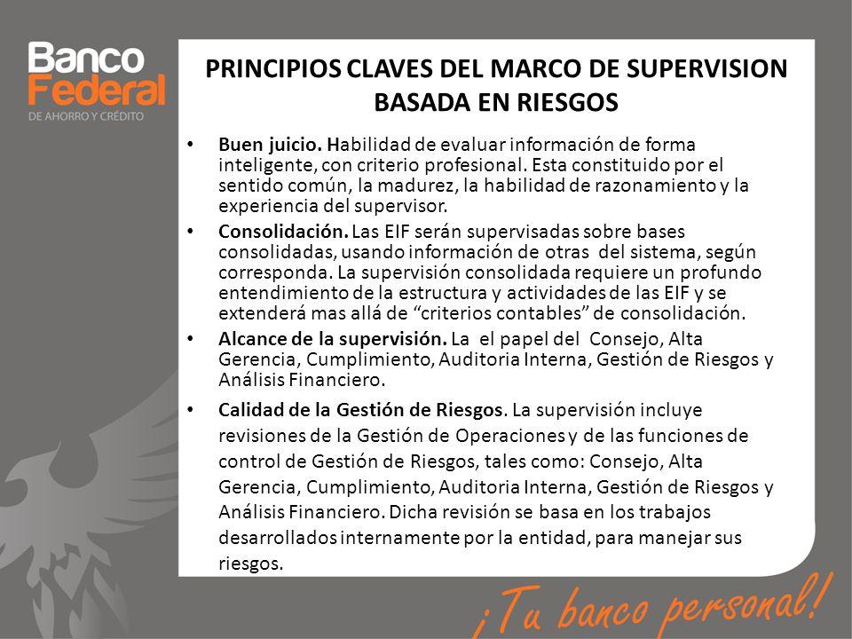 PRINCIPIOS CLAVES DEL MARCO DE SUPERVISION BASADA EN RIESGOS Buen juicio. Habilidad de evaluar información de forma inteligente, con criterio profesio