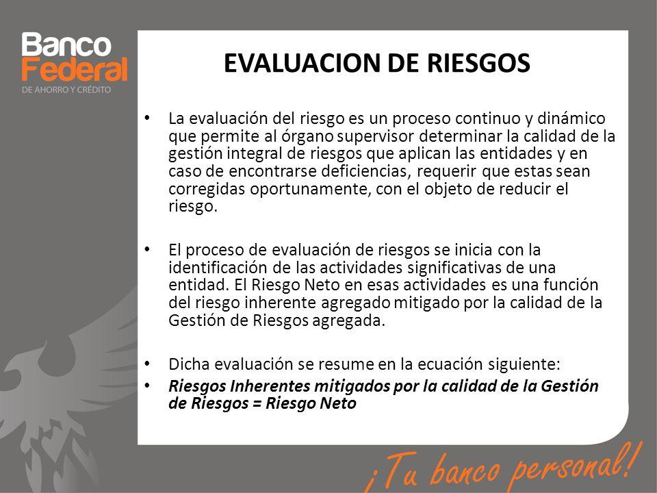 EVALUACION DE RIESGOS La evaluación del riesgo es un proceso continuo y dinámico que permite al órgano supervisor determinar la calidad de la gestión