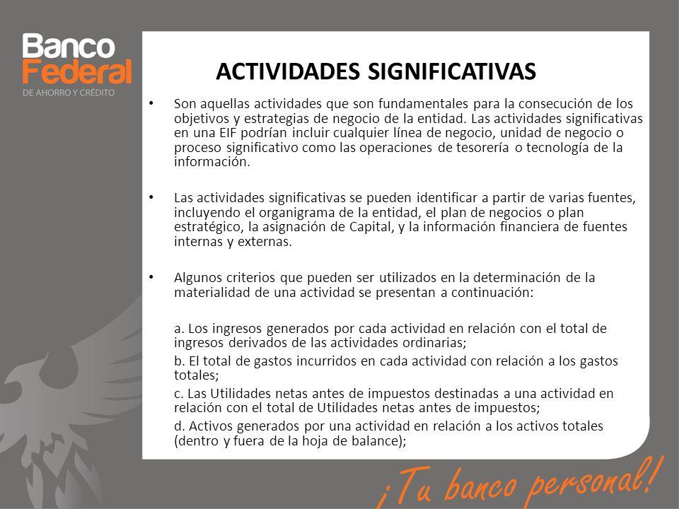 ACTIVIDADES SIGNIFICATIVAS Son aquellas actividades que son fundamentales para la consecución de los objetivos y estrategias de negocio de la entidad.