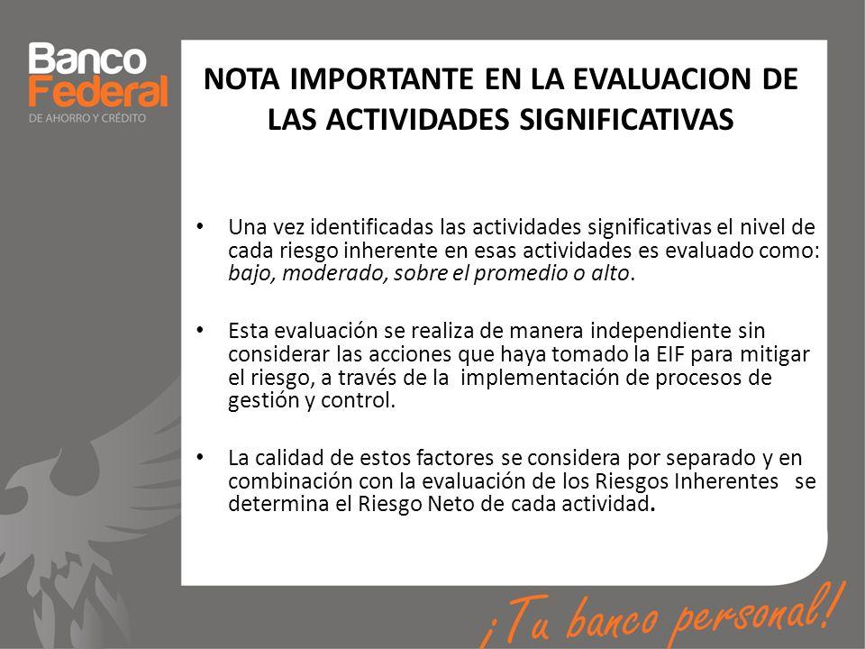 NOTA IMPORTANTE EN LA EVALUACION DE LAS ACTIVIDADES SIGNIFICATIVAS Una vez identificadas las actividades significativas el nivel de cada riesgo inhere