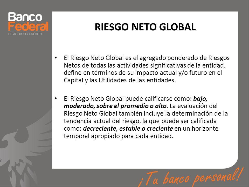 RIESGO NETO GLOBAL El Riesgo Neto Global es el agregado ponderado de Riesgos Netos de todas las actividades significativas de la entidad. define en té