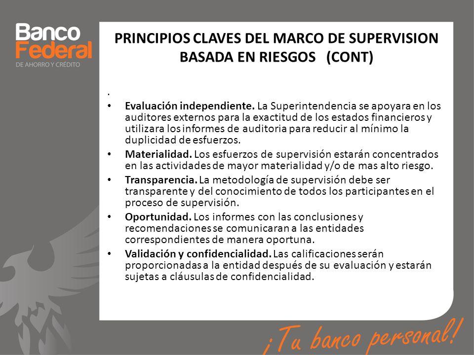 PRINCIPIOS CLAVES DEL MARCO DE SUPERVISION BASADA EN RIESGOS (CONT). Evaluación independiente. La Superintendencia se apoyara en los auditores externo