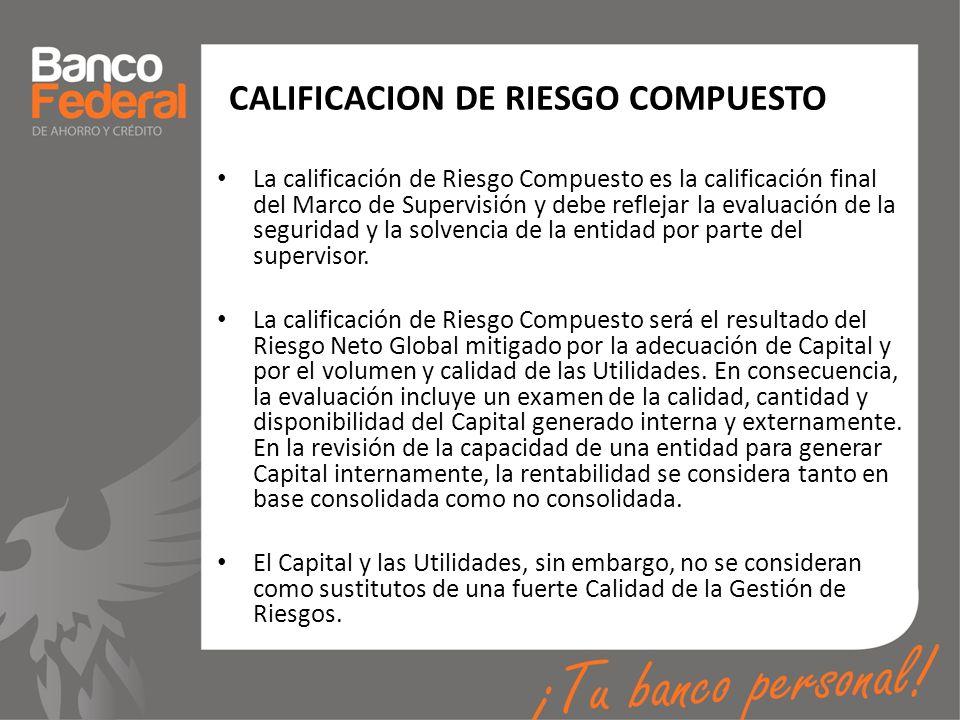 CALIFICACION DE RIESGO COMPUESTO La calificación de Riesgo Compuesto es la calificación final del Marco de Supervisión y debe reflejar la evaluación d