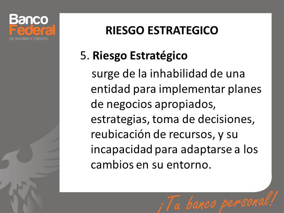 RIESGO ESTRATEGICO 5. Riesgo Estratégico surge de la inhabilidad de una entidad para implementar planes de negocios apropiados, estrategias, toma de d
