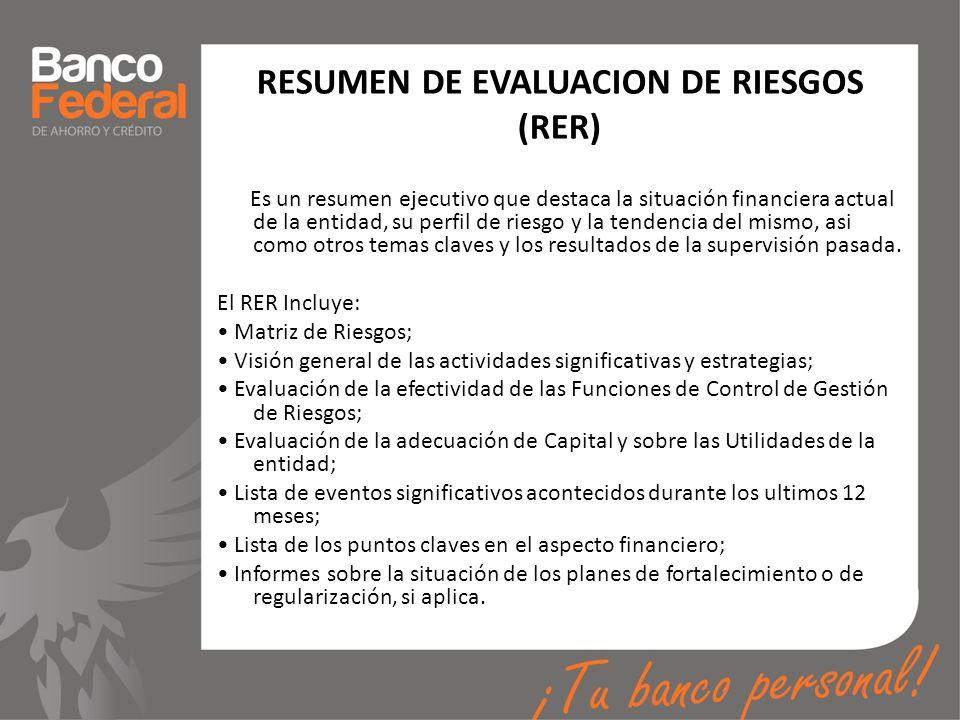 RESUMEN DE EVALUACION DE RIESGOS (RER) Es un resumen ejecutivo que destaca la situación financiera actual de la entidad, su perfil de riesgo y la tend