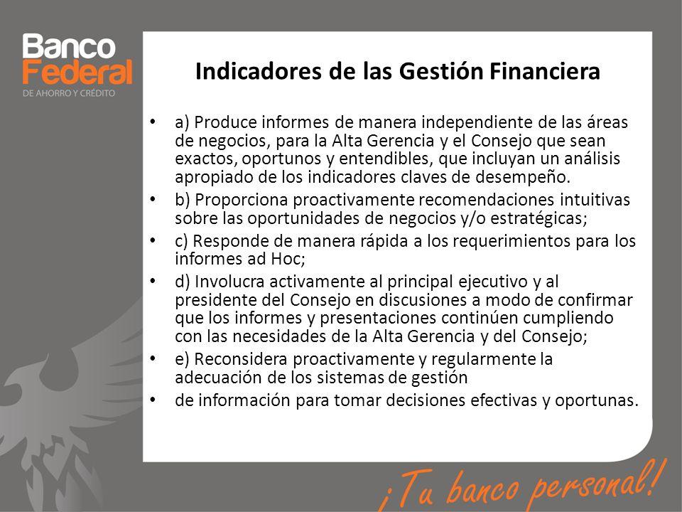 Indicadores de las Gestión Financiera a) Produce informes de manera independiente de las áreas de negocios, para la Alta Gerencia y el Consejo que sea