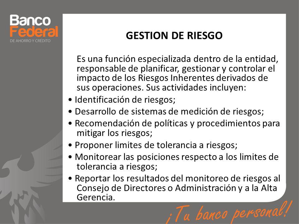 GESTION DE RIESGO Es una función especializada dentro de la entidad, responsable de planificar, gestionar y controlar el impacto de los Riesgos Inhere