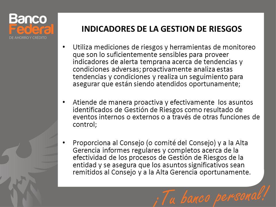 INDICADORES DE LA GESTION DE RIESGOS Utiliza mediciones de riesgos y herramientas de monitoreo que son lo suficientemente sensibles para proveer indic