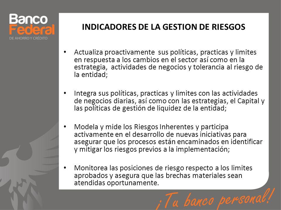 INDICADORES DE LA GESTION DE RIESGOS Actualiza proactivamente sus políticas, practicas y limites en respuesta a los cambios en el sector así como en l