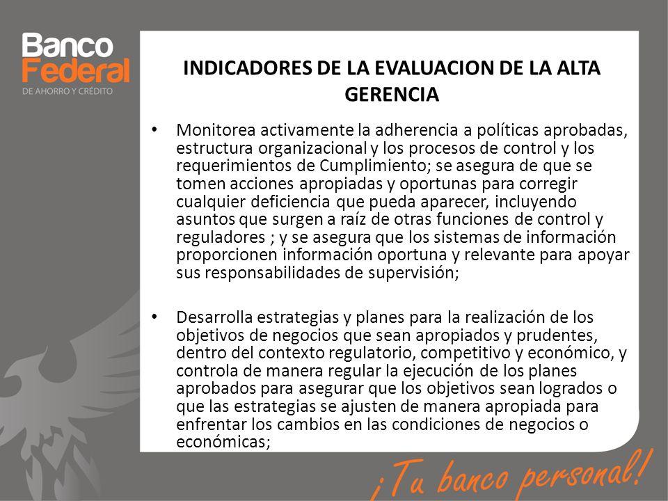 INDICADORES DE LA EVALUACION DE LA ALTA GERENCIA Monitorea activamente la adherencia a políticas aprobadas, estructura organizacional y los procesos d