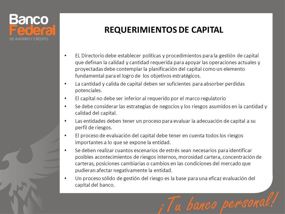 REQUERIMIENTOS DE CAPITAL EL Directorio debe establecer políticas y procedimientos para la gestión de capital que definan la calidad y cantidad requer