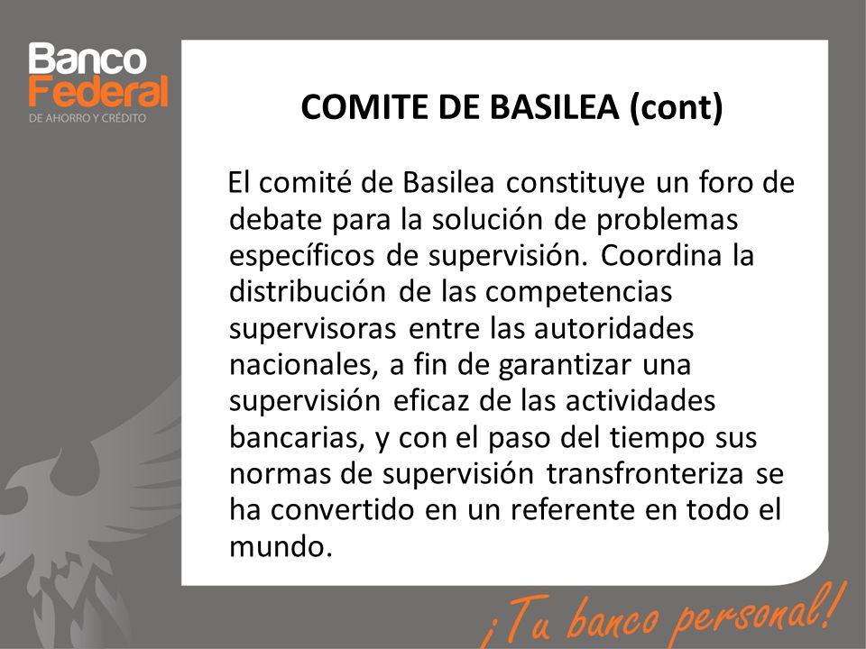 COMITE DE BASILEA (cont) El comité de Basilea constituye un foro de debate para la solución de problemas específicos de supervisión. Coordina la distr