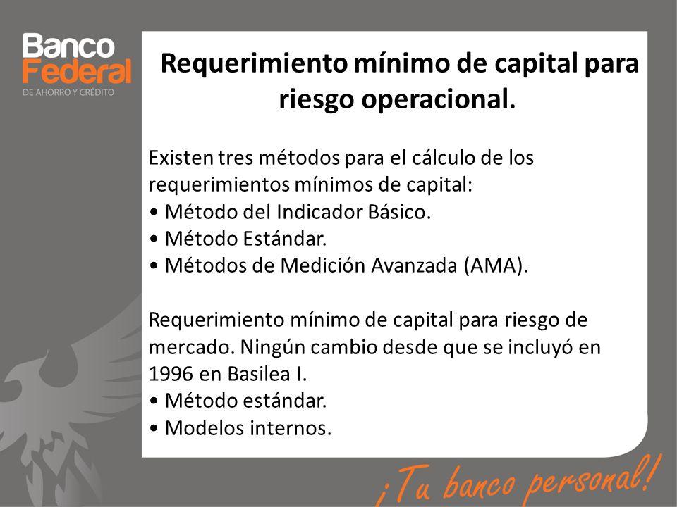 Requerimiento mínimo de capital para riesgo operacional. Existen tres métodos para el cálculo de los requerimientos mínimos de capital: Método del Ind