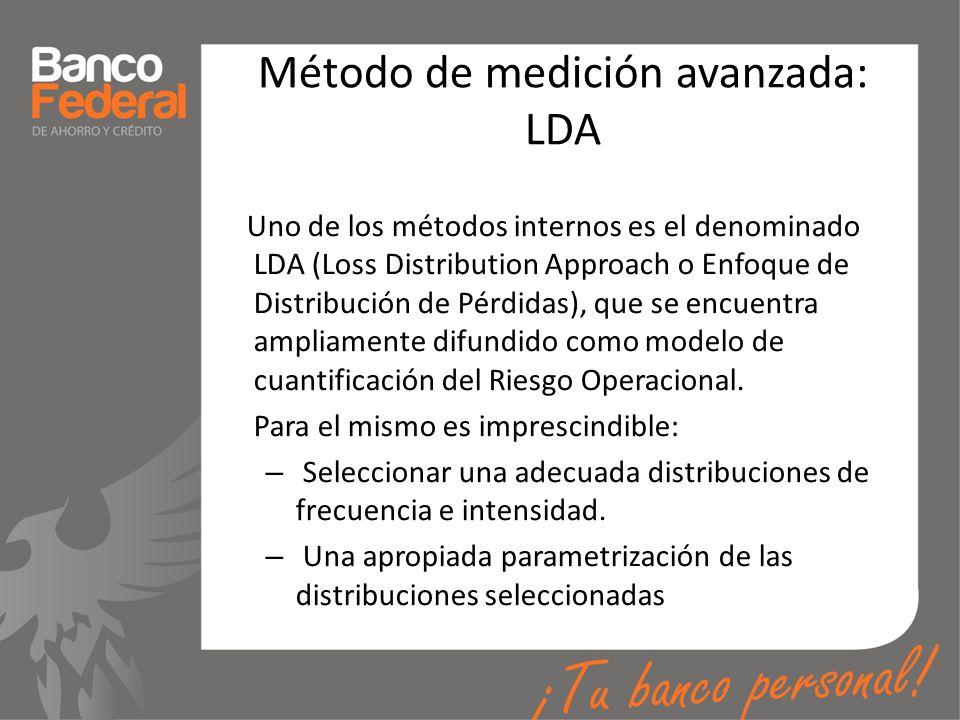 Método de medición avanzada: LDA Uno de los métodos internos es el denominado LDA (Loss Distribution Approach o Enfoque de Distribución de Pérdidas),