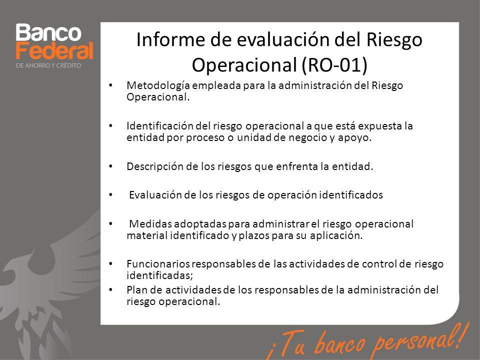 Informe de evaluación del Riesgo Operacional (RO-01) Metodología empleada para la administración del Riesgo Operacional. Identificación del riesgo ope