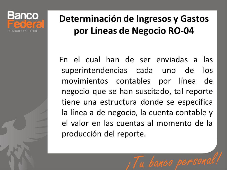 Determinación de Ingresos y Gastos por Líneas de Negocio RO-04 En el cual han de ser enviadas a las superintendencias cada uno de los movimientos cont