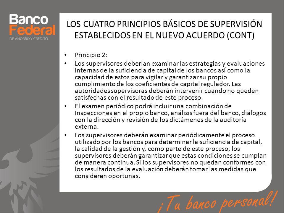 LOS CUATRO PRINCIPIOS BÁSICOS DE SUPERVISIÓN ESTABLECIDOS EN EL NUEVO ACUERDO (CONT) Principio 2: Los supervisores deberían examinar las estrategias y