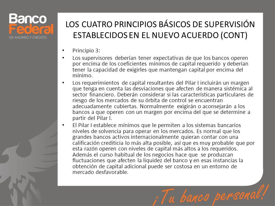 LOS CUATRO PRINCIPIOS BÁSICOS DE SUPERVISIÓN ESTABLECIDOS EN EL NUEVO ACUERDO (CONT) Principio 3: Los supervisores deberían tener expectativas de que