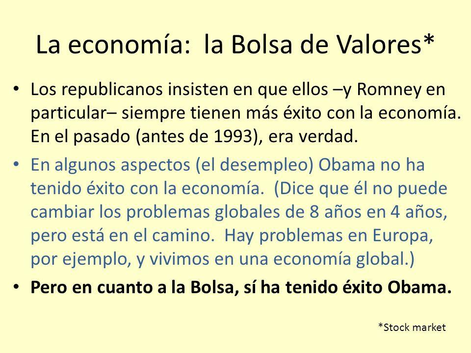 La economía: la Bolsa de Valores* Los republicanos insisten en que ellos –y Romney en particular– siempre tienen más éxito con la economía. En el pasa