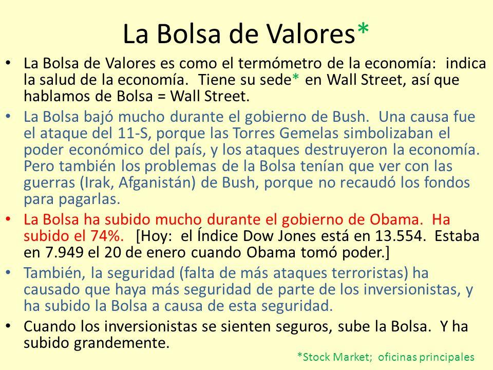 La Bolsa de Valores* La Bolsa de Valores es como el termómetro de la economía: indica la salud de la economía. Tiene su sede* en Wall Street, así que