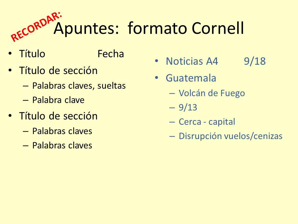 Apuntes: formato Cornell TítuloFecha Título de sección – Palabras claves, sueltas – Palabra clave Título de sección – Palabras claves Noticias A49/18
