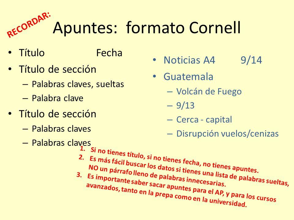 Apuntes: formato Cornell TítuloFecha Título de sección – Palabras claves, sueltas – Palabra clave Título de sección – Palabras claves Noticias A49/14