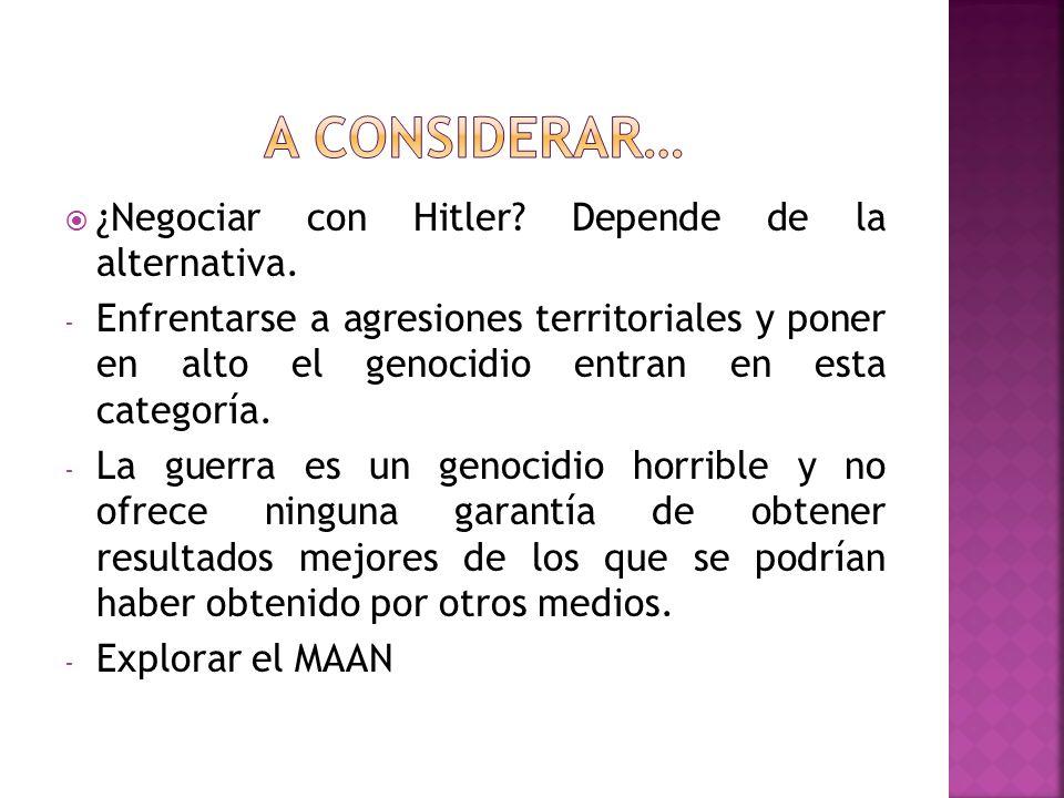 ¿Negociar con Hitler.Depende de la alternativa.