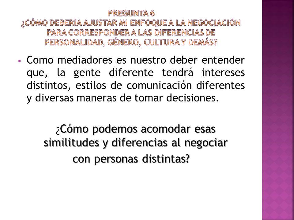 Como mediadores es nuestro deber entender que, la gente diferente tendrá intereses distintos, estilos de comunicación diferentes y diversas maneras de tomar decisiones.