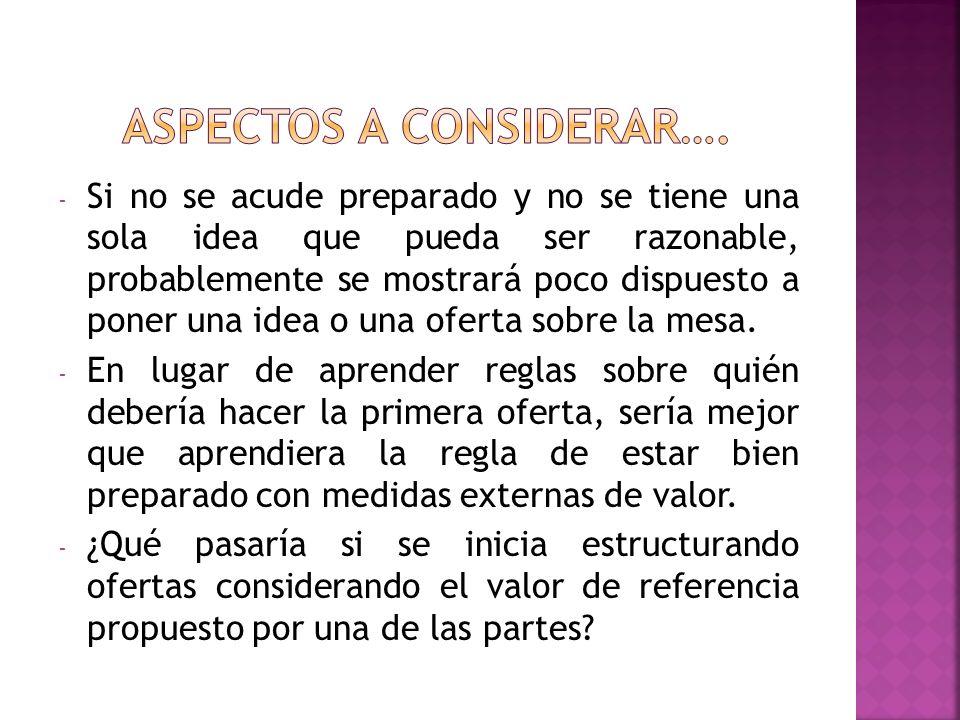 - Si no se acude preparado y no se tiene una sola idea que pueda ser razonable, probablemente se mostrará poco dispuesto a poner una idea o una oferta sobre la mesa.